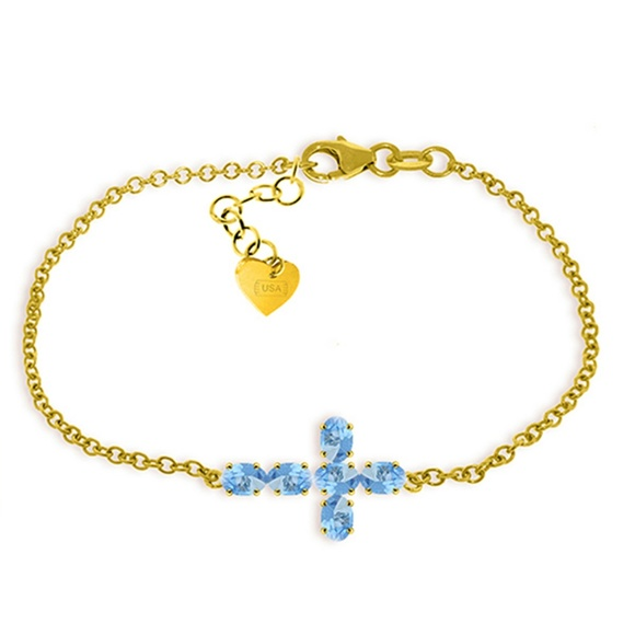 Galaxy Gold Products Jewelry - GOLD CROSS BRACELET WITH NATURAL BLUE TOPAZ